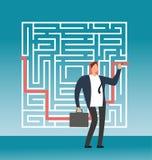Trajeto do direito de desenho do homem de negócios ao sucesso no labirinto complexo, labirinto Conceito criativo do vetor da solu Foto de Stock Royalty Free