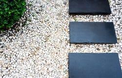 Trajeto do jardim nos seixos brancos e em árvores verdes luxúrias Fotografia de Stock