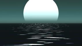 Trajeto do luar com a baixa lua do tolo acima do mar vídeos de arquivo