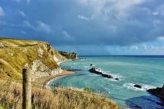 Trajeto litoral de Dorset, opinião espetacular do beira-mar Fotos de Stock Royalty Free