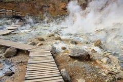 Trajeto na área geothermal - Islândia foto de stock