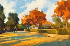 Trajeto no parque do outono ilustração do vetor