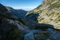 Trajeto para escalar um pico do malyovitsa, montanha de Rila Foto de Stock Royalty Free