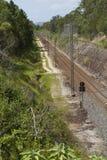 Trajeto reto de uma trilha de estrada de ferro, costa da luz do sol, Queensland, Austrália Imagens de Stock