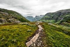Trajeto sobre o pasto verde nas montanhas de Noruega ocidental com neve nas cimeiras e em um céu nebuloso escuro Fotografia de Stock