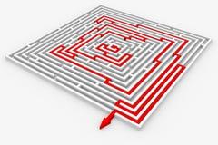 Trajeto vermelho do labirinto. Maneira direita. Imagens de Stock