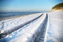 trajeto 4wd ao longo da costa de mar Imagem de Stock Royalty Free