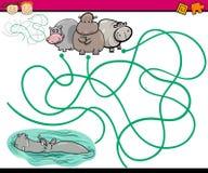 Trajetos ou jogo dos desenhos animados do labirinto Imagem de Stock