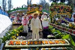 ³ Trajinera de Alegà rica Xochimilco Stockbild