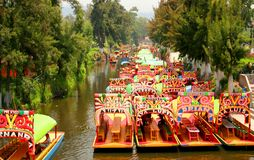Trajineras. View of the famous trjineras of xochimilco, mexico city Stock Photography