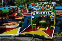 Trajineras de Xochimilco Foto de archivo libre de regalías