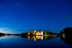 Trakai城堡在晚上 库存照片