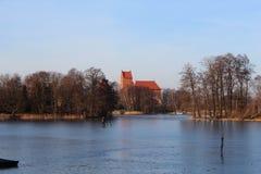 Trakai öslott i contry Litauen royaltyfria bilder