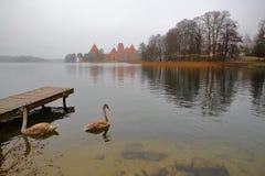 TRAKAI, ЛИТВА: Замок Trakai построенный на острове озера Galve около Вильнюса Стоковое Изображение RF