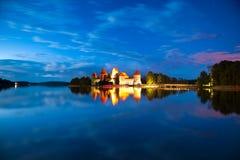 Trakai Castle At Night Stock Images