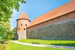 Trakai castle with brick walls. On island in Lithuania stock photos