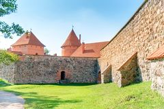 Trakai castle with brick walls. On island in Lithuania stock photography