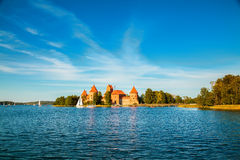 Trakai castle built in the cantre of the lake Royalty Free Stock Photography