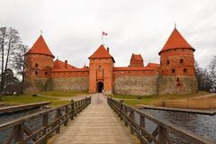 Trakai Castle on a cloudy day Royalty Free Stock Images