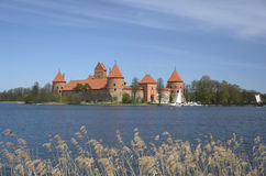 Trakai castle and Galve lake in Lithuania Royalty Free Stock Photo