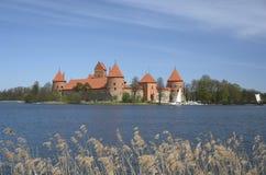 Trakai castle and Galve lake in Lithuania. Galve Lake and Castle in Trakai, Lithuania Royalty Free Stock Photo