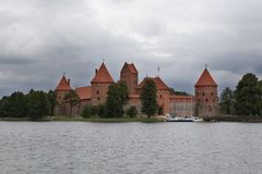 Trakai castle on a gloomy day, Lithuania stock image