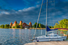 Trakai castle and lake Stock Photography