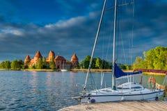 Trakai castle and lake Stock Photography