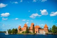 Trakai castle and lake Stock Photo