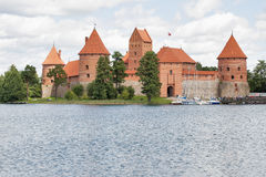 Trakai Castle on Lake Galve (Lithuania). Stock Photo