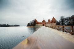 Trakai Castle in Lithuania, panorama with lake royalty free stock photo