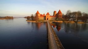 Trakai castle. Lithuania, the castle of Trakai at sunrise, aerial view video stock video
