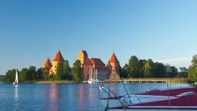 Trakai Castle, Lithuania, time-lapse. Trakai Castle, Lithuania, hyper time-lapse stock video