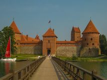 Trakai Castle in the middle of Lake Galvė royalty free stock images
