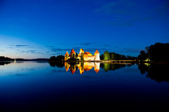 Trakai Castle at night Royalty Free Stock Image