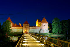 Trakai Castle at night Royalty Free Stock Photos