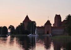 Trakai castle. Old Trakai castle in the late evening royalty free stock photos