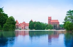 Trakai castle view from the vilage Royalty Free Stock Photos