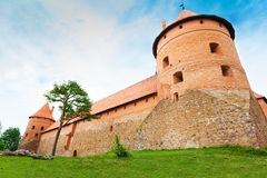 Trakai castle walls and towers Royalty Free Stock Images