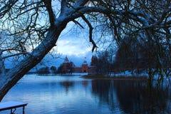 Trakai Castle in winter on island Stock Image