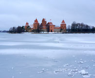 Trakai castle in winter Royalty Free Stock Images
