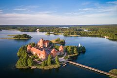 Free Trakai Castle With Lake And Forest In Background.  Lithuania Stock Images - 150224434