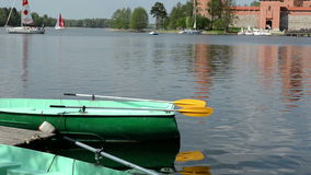 Trakai castle yacht sail and boat rent place galve lake stock video footage