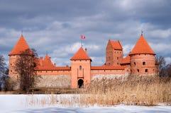 Trakai defensives Schloss in der Winterjahreszeit Lizenzfreie Stockfotografie