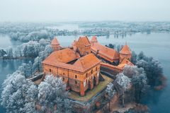 Trakai Island Castle And Frosty Trees, Lithuania Stock Photography