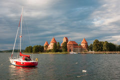 Trakai island castle on the lake Galve Royalty Free Stock Photography