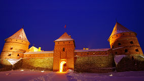 Trakai Island Castle in the night in winter. Royalty Free Stock Photography