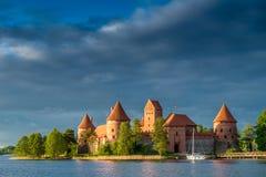 Trakai jezioro i kasztel Fotografia Royalty Free