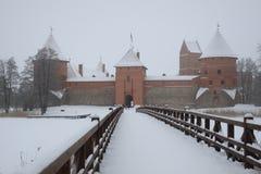 Trakai kasztel w Lithuania w zimie fotografia stock