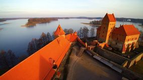 Trakai. Lithuania, the castle of Trakai at sunrise, aerial view video stock video footage